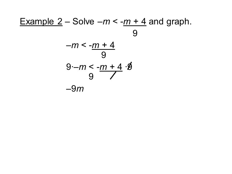Example 2 – Solve –m < -m + 4 and graph. 9 –m < -m ·–m < -m + 4 ·9 9 –9m