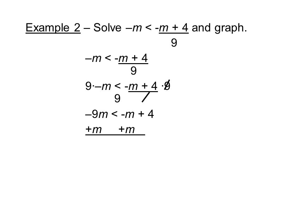 Example 2 – Solve –m < -m + 4 and graph. 9 –m < -m ·–m < -m + 4 ·9 9 –9m < -m + 4 +m
