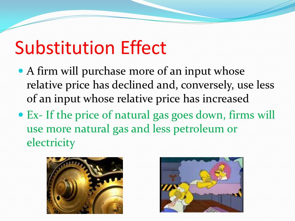 Substitution Effect A firm will purchase more of an input whose relative price has declined and, conversely, use less of an input whose relative price has increased Ex- If the price of natural gas goes down, firms will use more natural gas and less petroleum or electricity