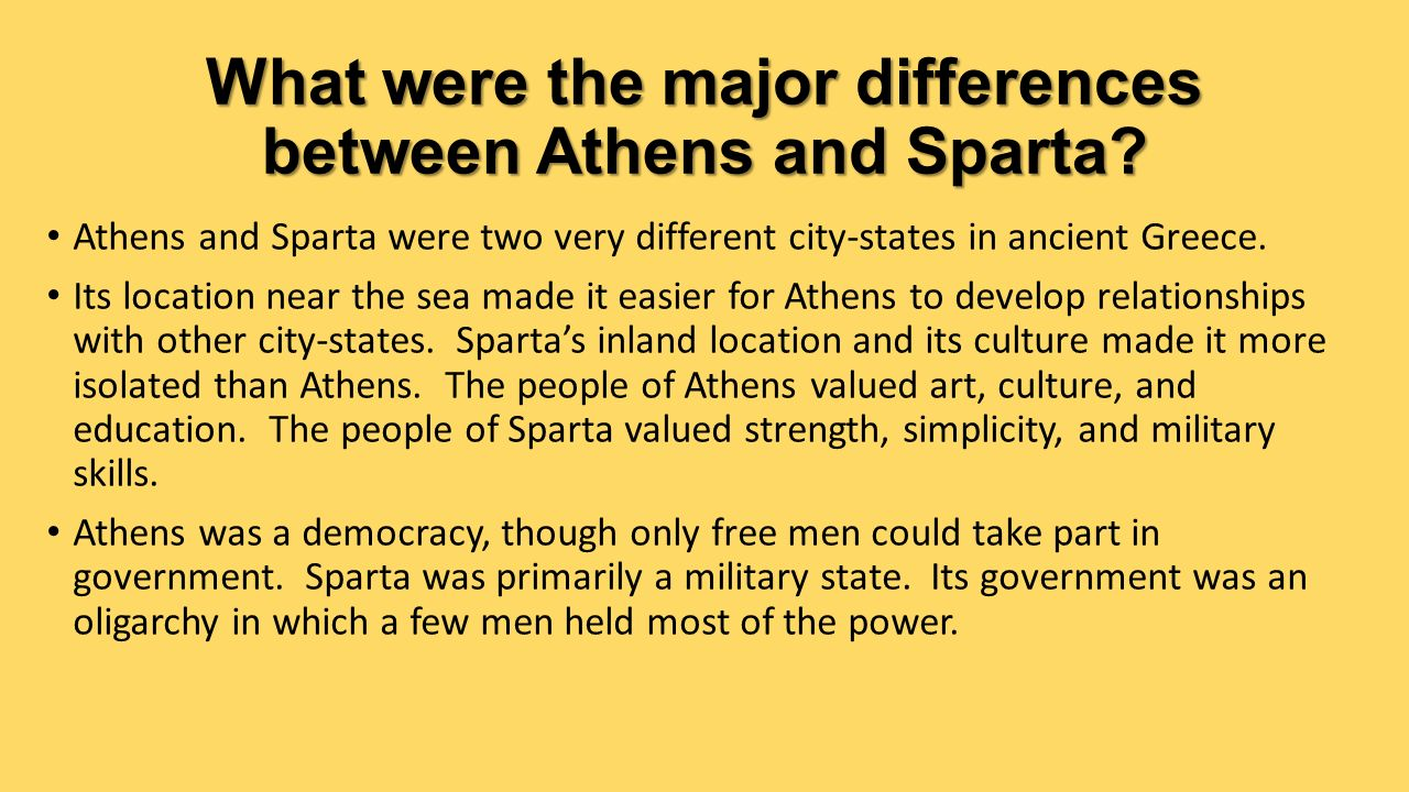 major differences between classical athens and