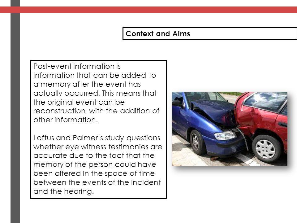 Loftus And Palmer The Reconstruction of Automobile Destruction ...