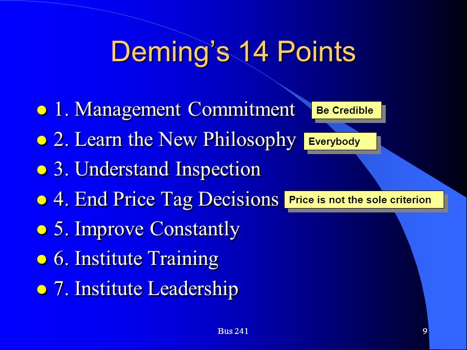 Bus 2419 Deming's 14 Points l 1. Management Commitment l 2. Learn the New Philosophy l 3. Understand Inspection l 4. End Price Tag Decisions l 5. Impr