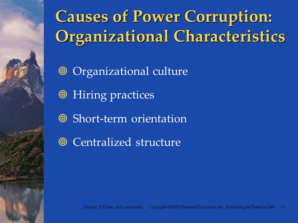 Chapter 5 Power and Leadership Copyright ©2009 Pearson Education, Inc.