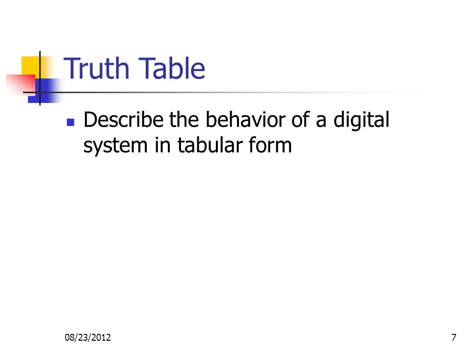 08/23/20127 Truth Table Describe the behavior of a digital system in tabular form