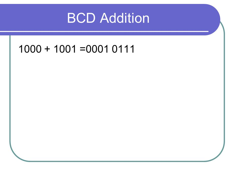BCD Addition 1000 + 1001 =0001 0111