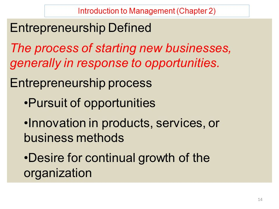 Introduction to Management (Chapter 2) 14 Entrepreneurship Defined The process of starting new businesses, generally in response to opportunities.