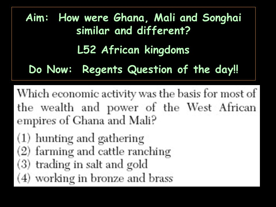 Comparing and Contrasting African Ghana and Mali?