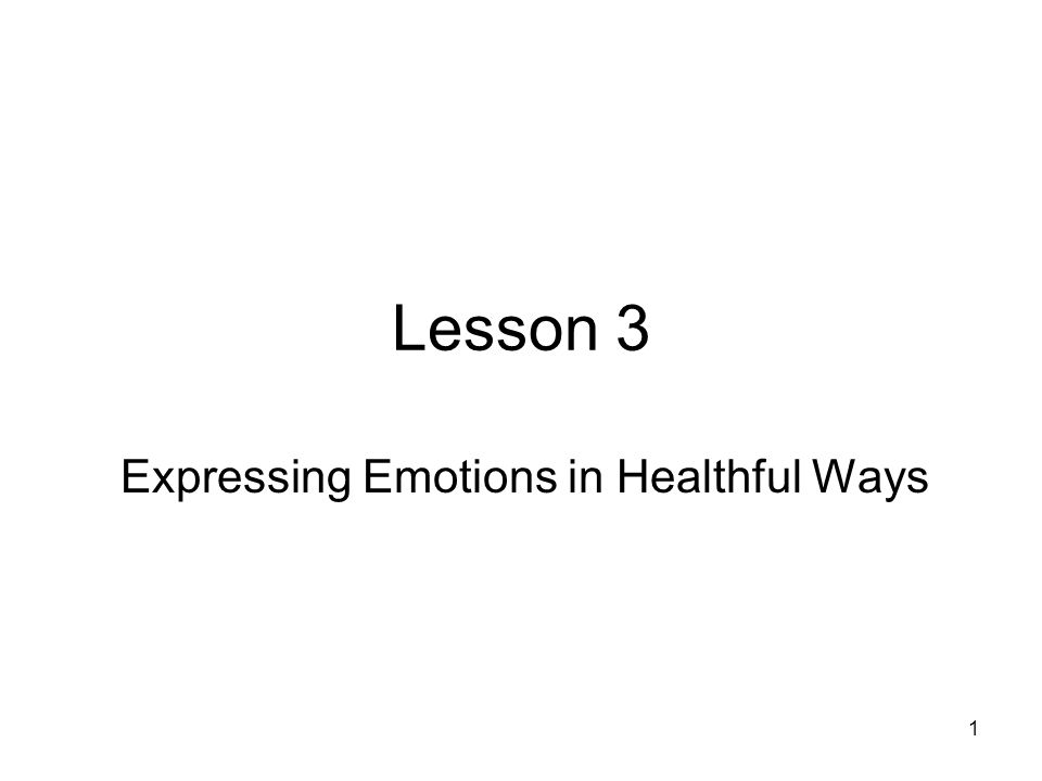 1 Lesson 3 Expressing Emotions in Healthful Ways