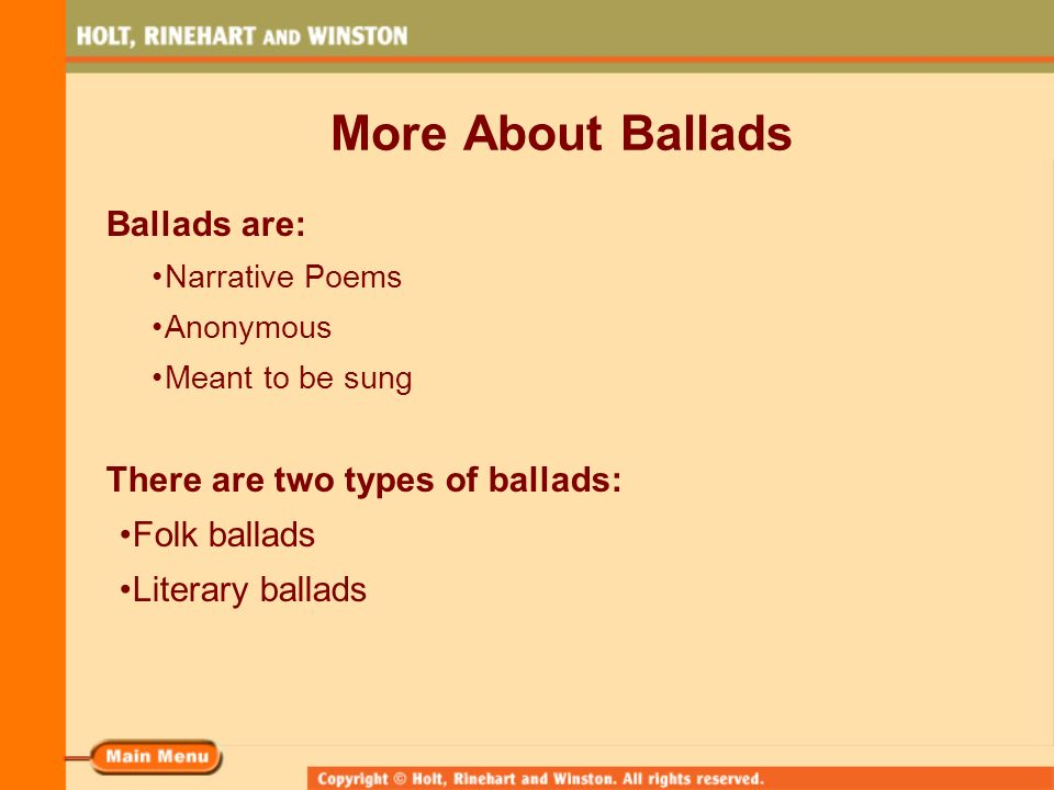 Ballads Popular Poetry. What Is a Ballad? A ballad is a song or ...
