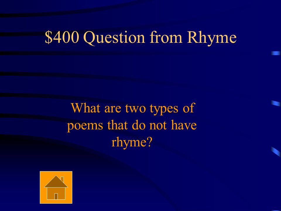 $300 Answer from Rhyme Couplet