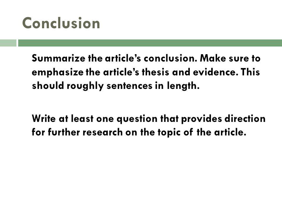 Dissertation Conclusion Length