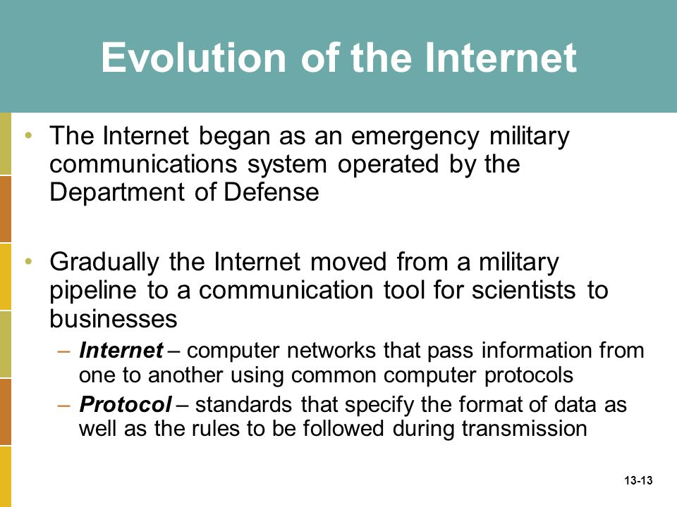13-13 Evolution of the Internet The Internet began as an emergency military communications system operated by the Department of Defense Gradually the Internet moved from a military pipeline to a communication tool for scientists to businesses –Internet – computer networks that pass information from one to another using common computer protocols –Protocol – standards that specify the format of data as well as the rules to be followed during transmission