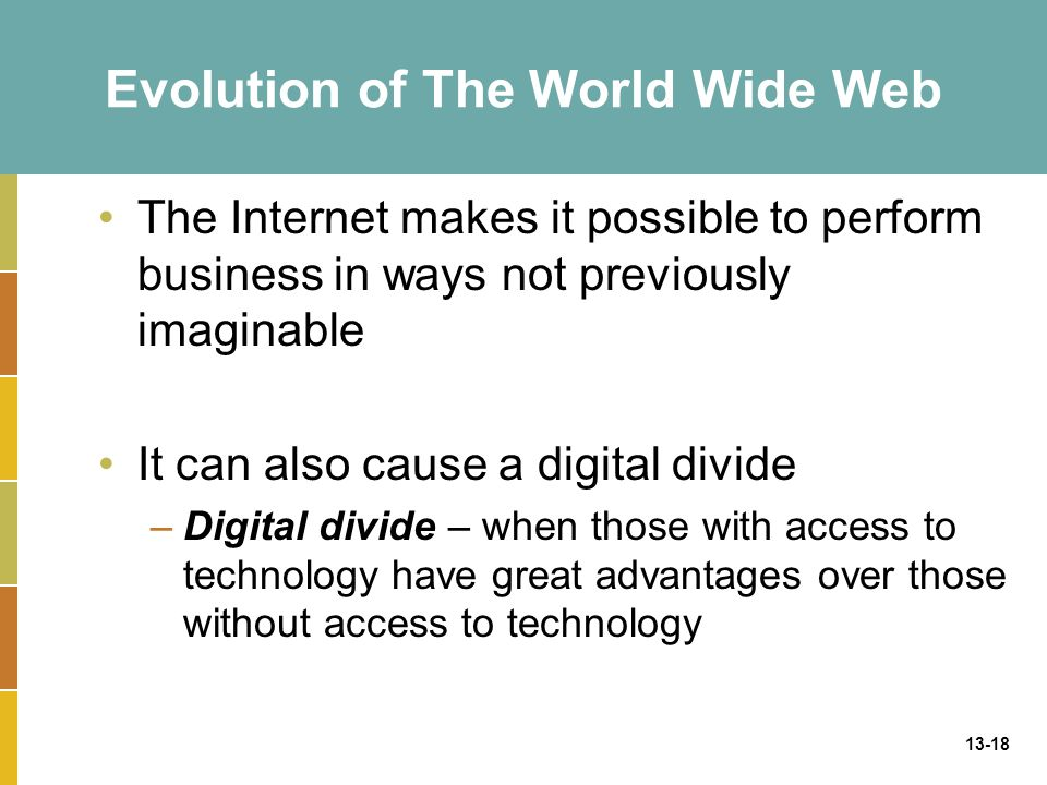 13-18 Evolution of The World Wide Web The Internet makes it possible to perform business in ways not previously imaginable It can also cause a digital divide –Digital divide – when those with access to technology have great advantages over those without access to technology