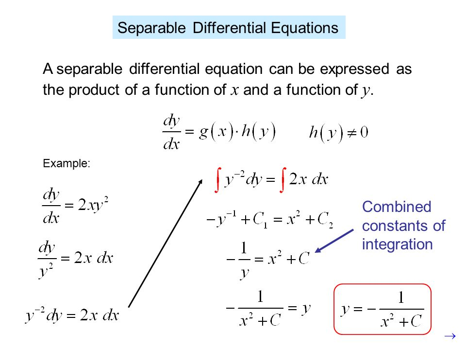 Separable Differential Equations A separable differential – Separable Differential Equations Worksheet