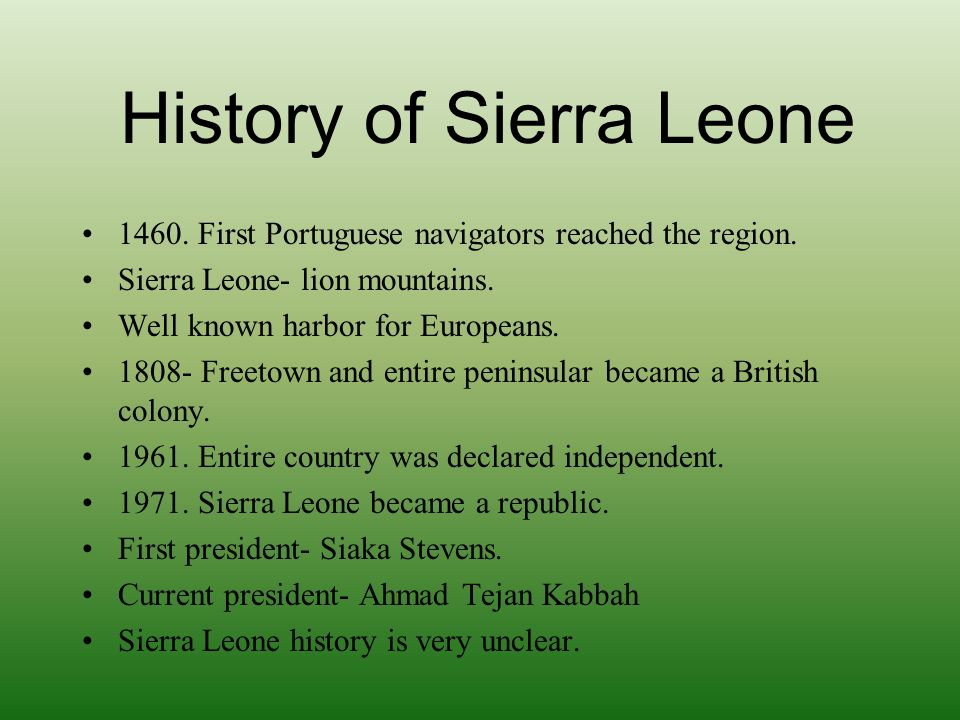 economic history of sierra leone Information on sierra leone — map of sierra leone, geography, history, politics, government, economy, population statistics, culture, religion, languages, largest cities, and the national.