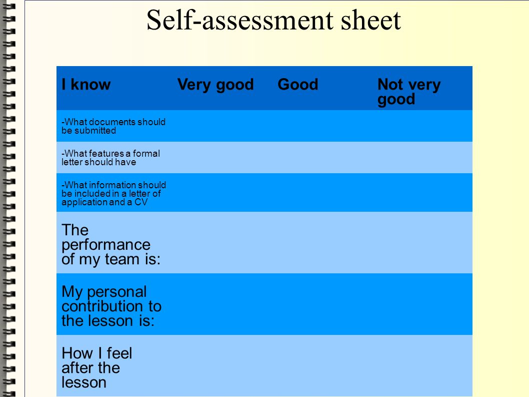 self assessment and a ten year personal