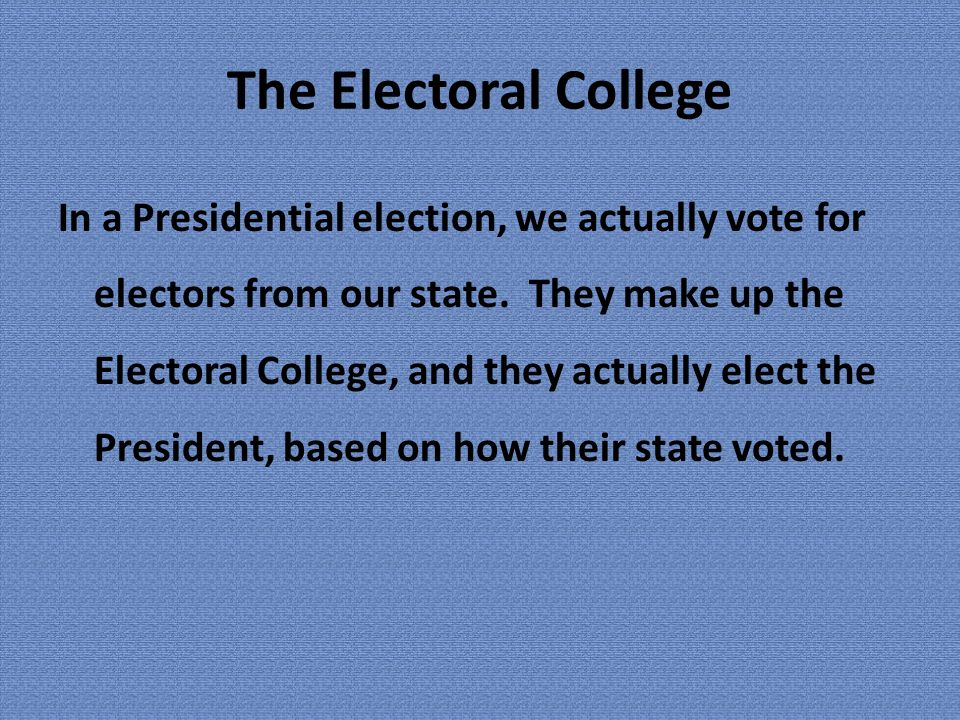 an argument against the idea of the electoral college Creating an argument: the electoral collegethis week we learned about the presidency, the powers of the presidency, and the unique way our president is elected via the electoral college.