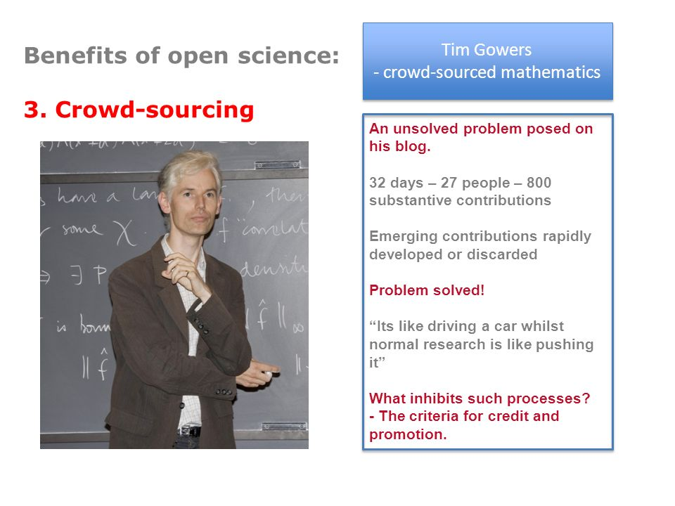 Mathematics related discussions Tim Gowers - crowd-sourced mathematics Tim Gowers - crowd-sourced mathematics An unsolved problem posed on his blog.