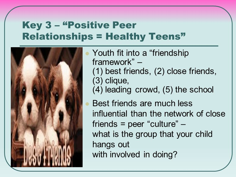 "Key 3 – ""Positive Peer Relationships = Healthy Teens"" Youth fit into a ""friendship framework"" – (1) best friends, (2) close friends, (3) clique, (4) l"