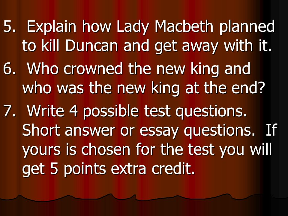 possible essay questions for macbeth