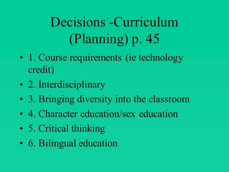 Part of Curriculum Principal Curriculum leader Teacher Students Parents/citizens