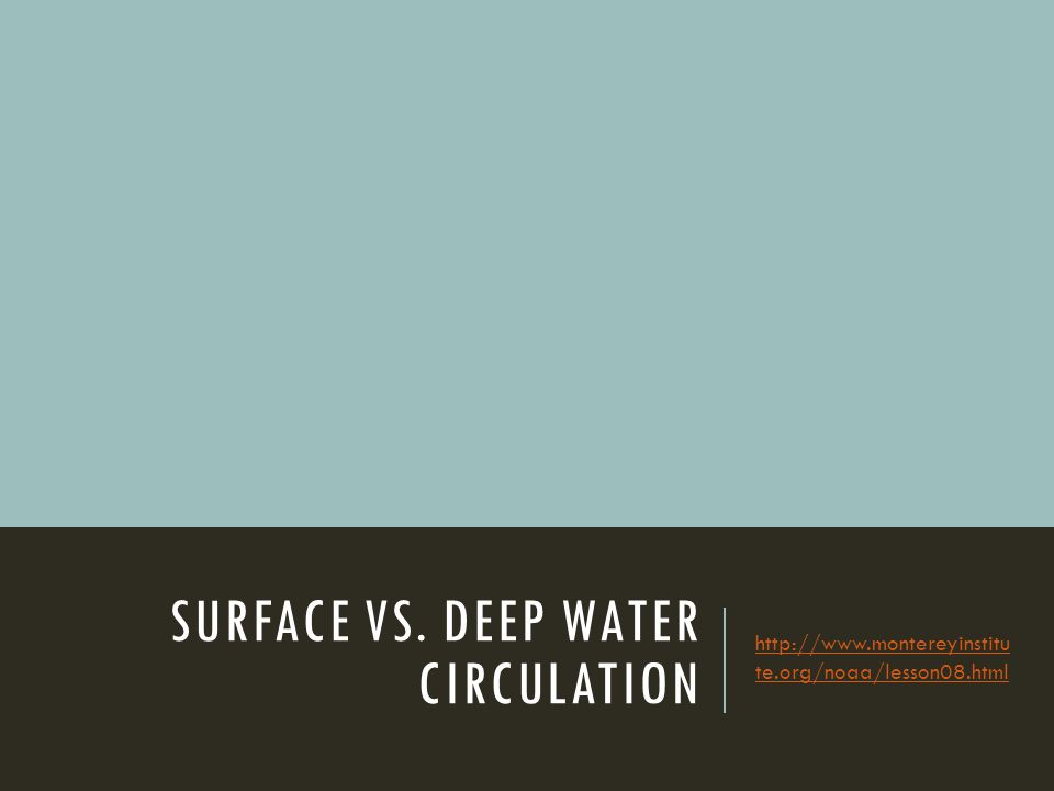 SURFACE VS. DEEP WATER CIRCULATION   te.org/noaa/lesson08.html