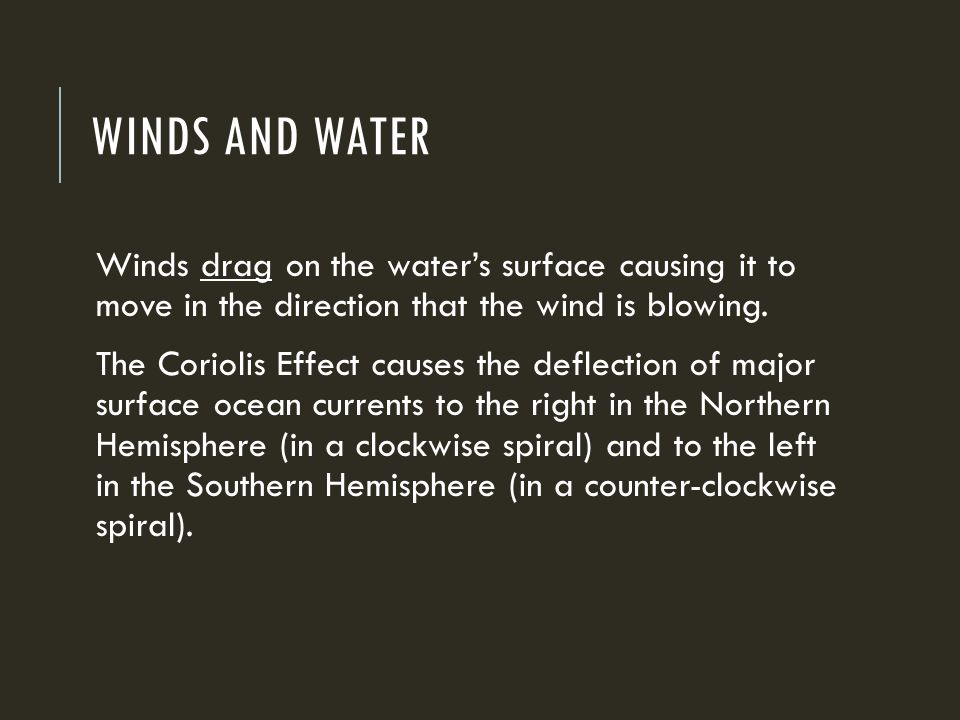 WINDS AND WATER Winds drag on the water's surface causing it to move in the direction that the wind is blowing.