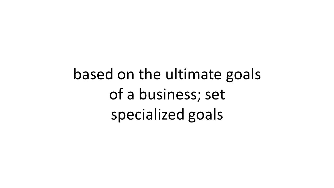 based on the ultimate goals of a business; set specialized goals
