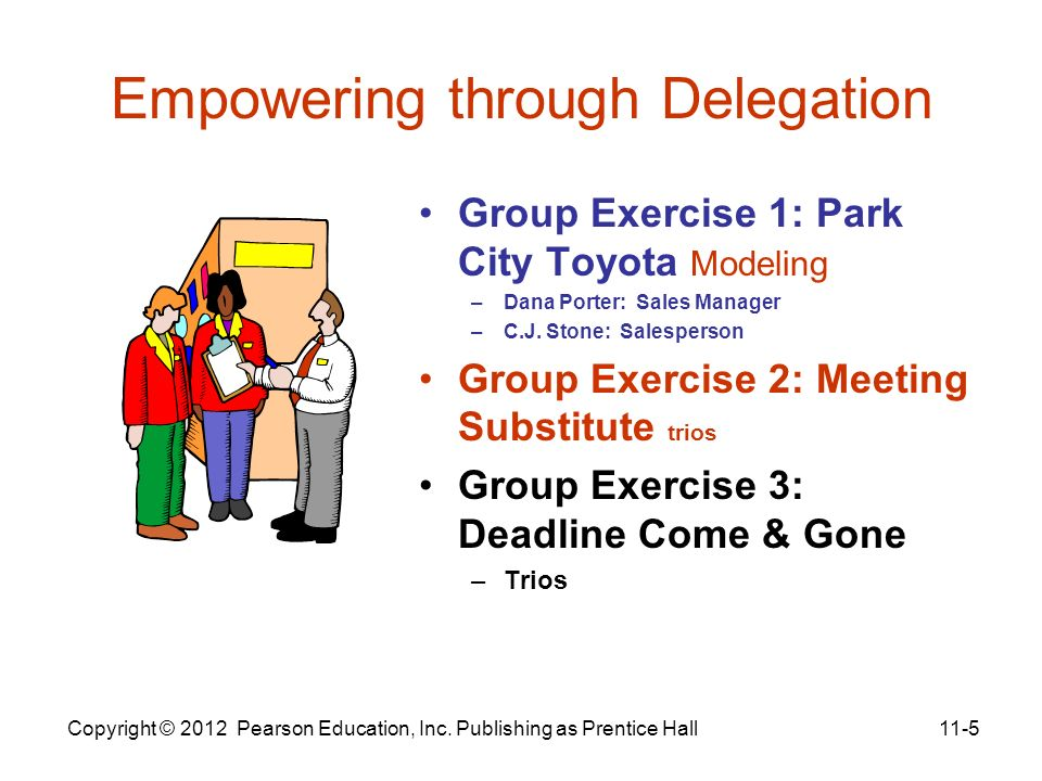 Empowering through Delegation Group Exercise 1: Park City Toyota Modeling –Dana Porter: Sales Manager –C.J. Stone: Salesperson Group Exercise 2: Meeti