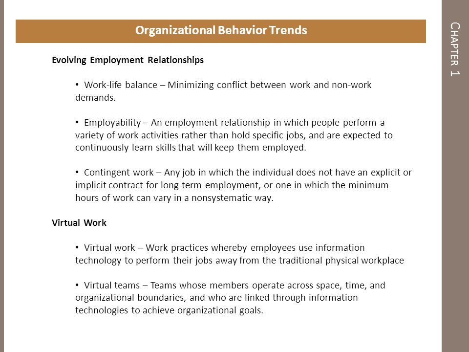 chapter introduction to the field of organizational behavior  c hapter 1 organizational behavior trends evolving employment relationships work life balance minimizing conflict