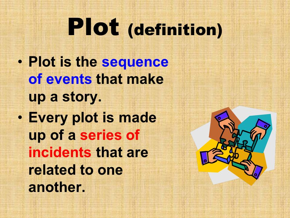 Plot (definition) Plot is the sequence of events that make up a story.