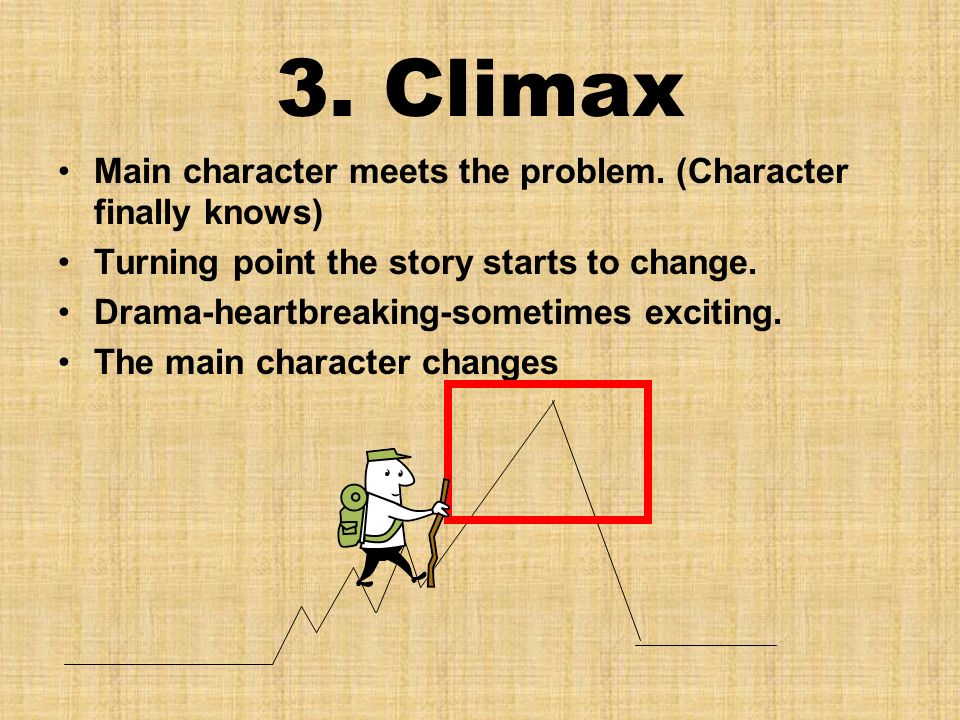 3. Climax Main character meets the problem.