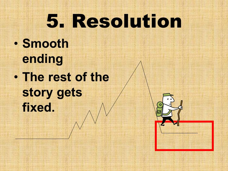 5. Resolution Smooth ending The rest of the story gets fixed.