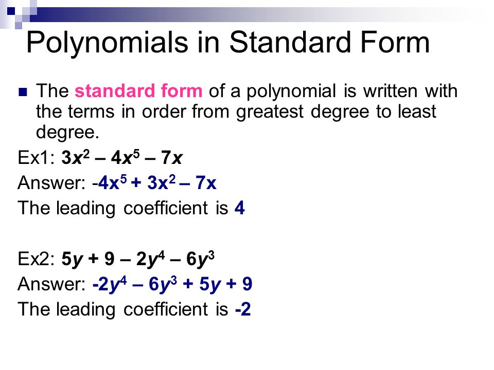 How To Put Polynomials In Standard Form Dolapgnetband