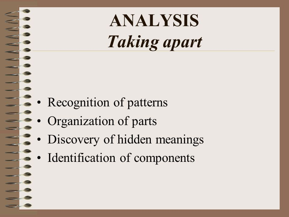 ANALYSIS Taking apart Recognition of patterns Organization of parts Discovery of hidden meanings Identification of components