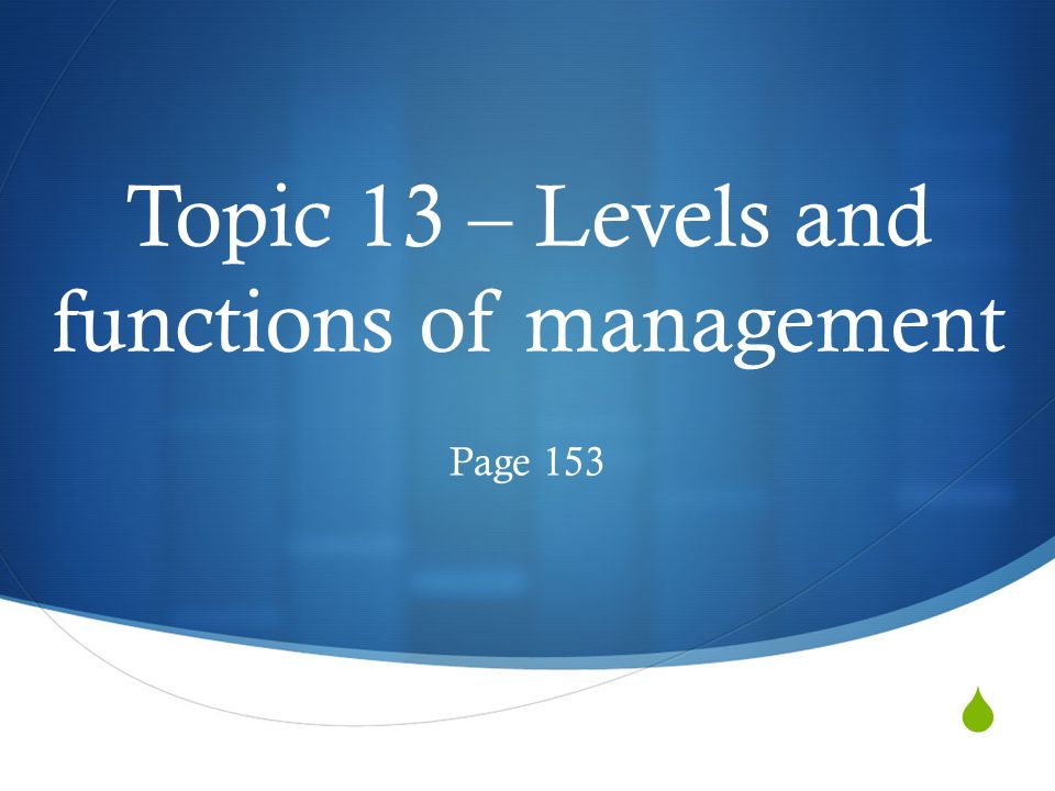  Topic 13 – Levels and functions of management Page 153