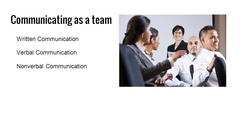 Communicating as a team Written Communication Verbal Communication Nonverbal Communication