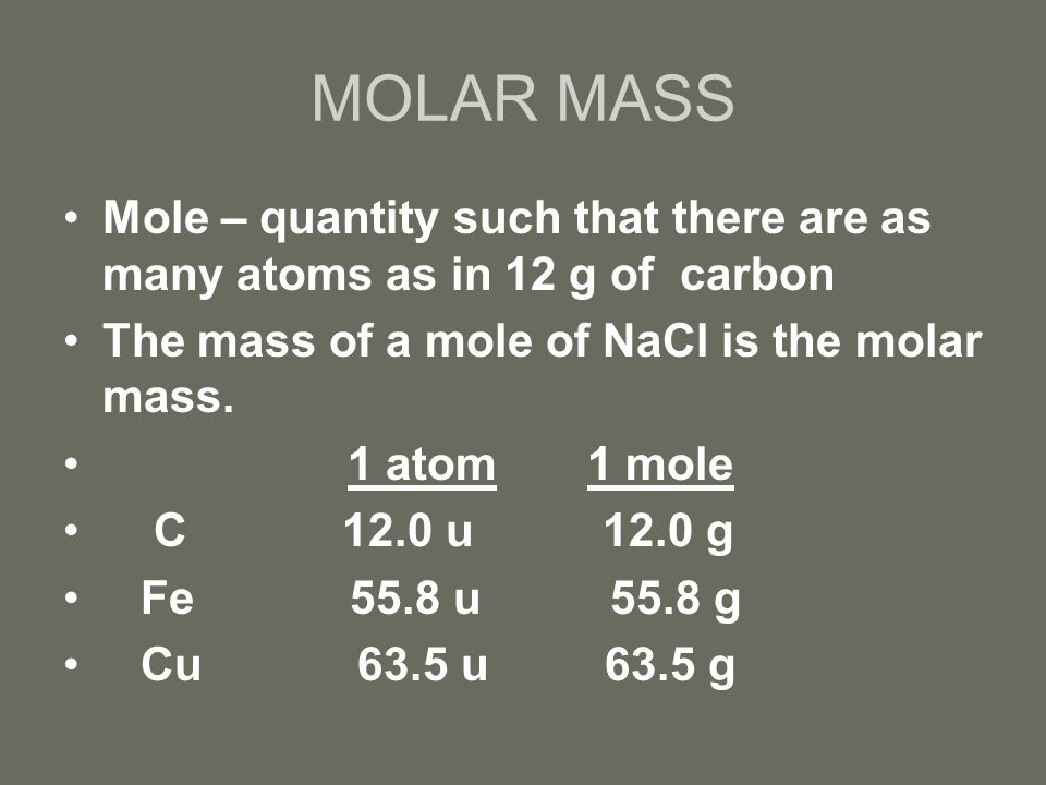 Chapter 10 the mole the atomic mass is found by checking the 3 molar urtaz Choice Image