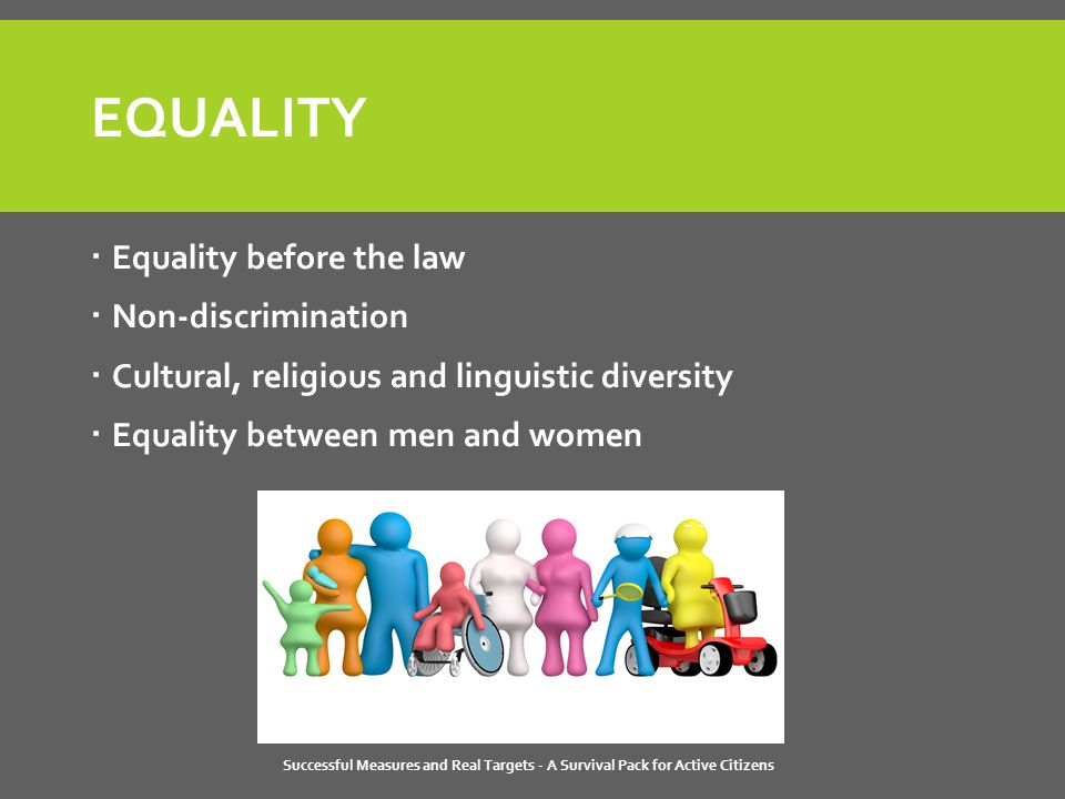 Successful Measures and Real Targets - A Survival Pack for Active Citizens EQUALITY  Equality before the law  Non-discrimination  Cultural, religious and linguistic diversity  Equality between men and women