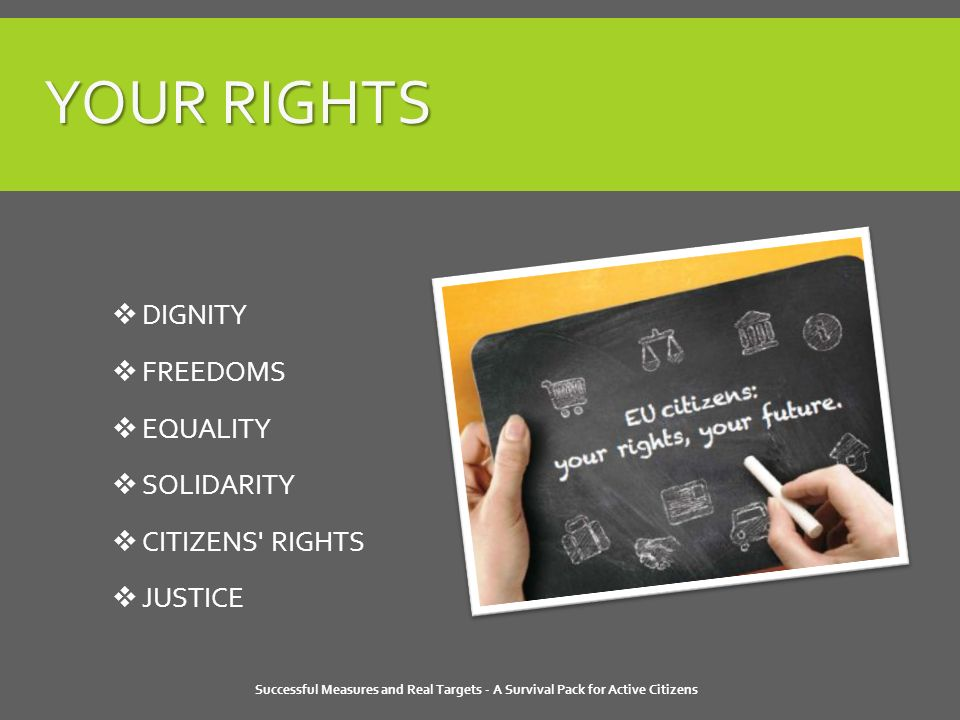 YOUR RIGHTS Successful Measures and Real Targets - A Survival Pack for Active Citizens  DIGNITY  FREEDOMS  EQUALITY  SOLIDARITY  CITIZENS RIGHTS  JUSTICE