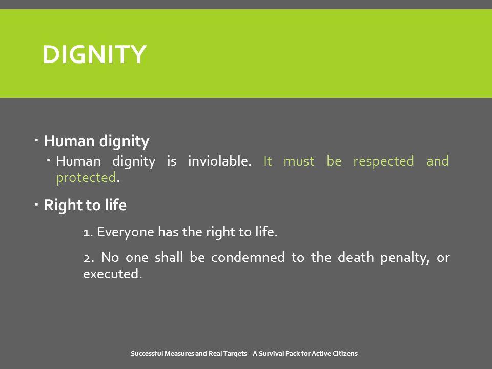 DIGNITY  Human dignity  Human dignity is inviolable.