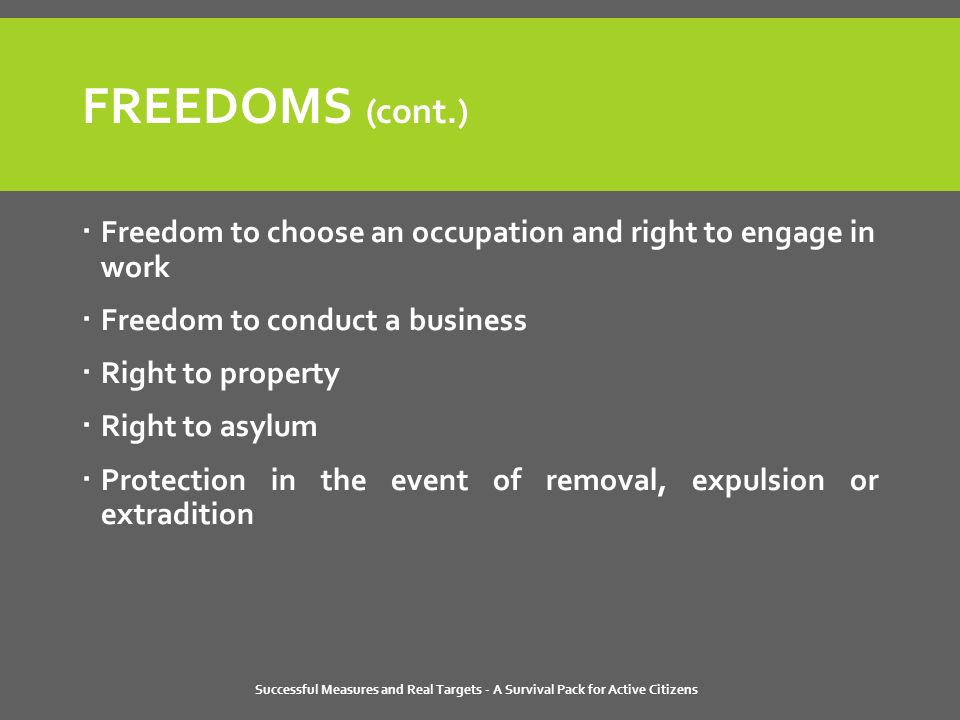 Successful Measures and Real Targets - A Survival Pack for Active Citizens FREEDOMS (cont.)  Freedom to choose an occupation and right to engage in work  Freedom to conduct a business  Right to property  Right to asylum  Protection in the event of removal, expulsion or extradition