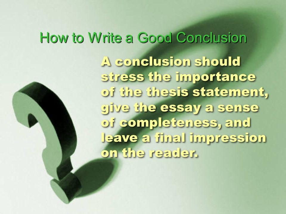 Stress essay conclusion