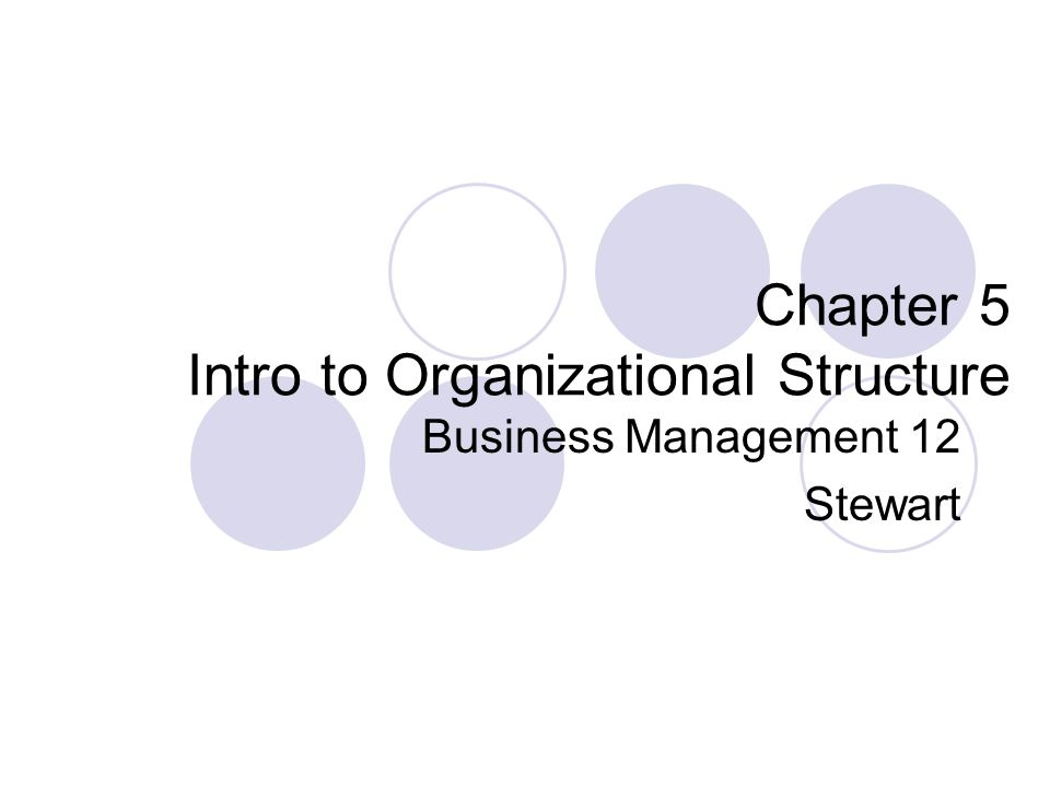 Chapter 5 Intro to Organizational Structure Business Management 12 Stewart