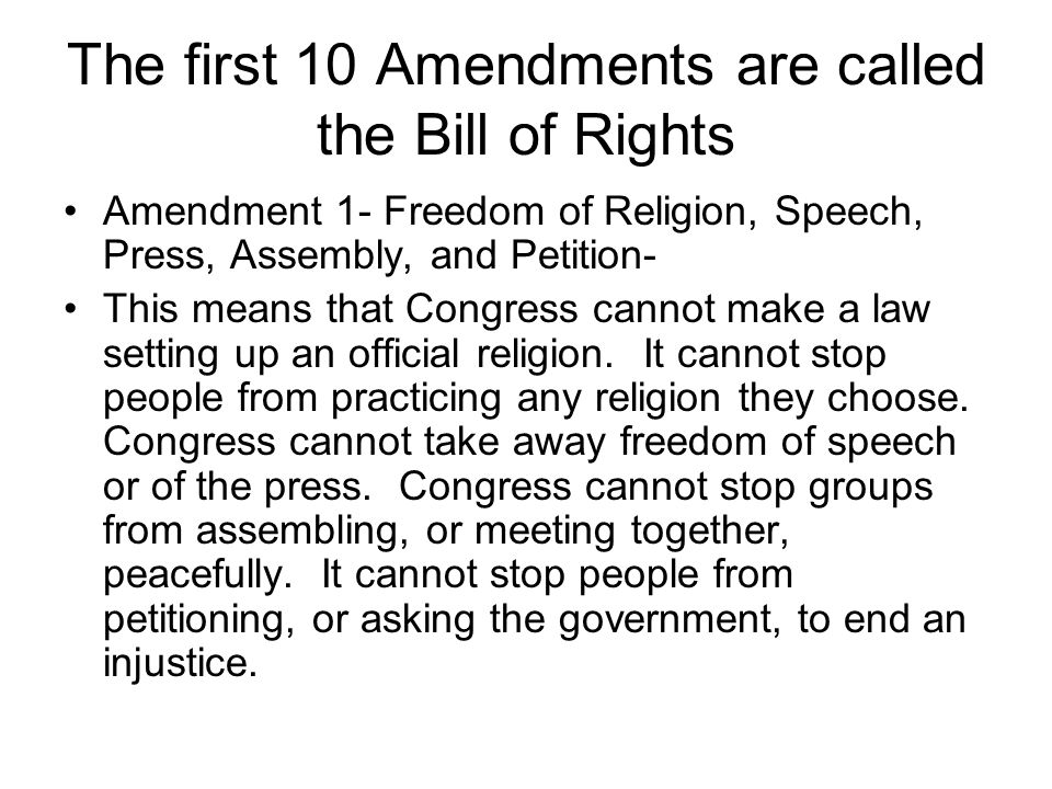 an analysis of the first amendment to the bill of rights Incorporation of the bill of rights under strict scrutiny as restrictions on political speechunder this analysis on their first amendment rights.