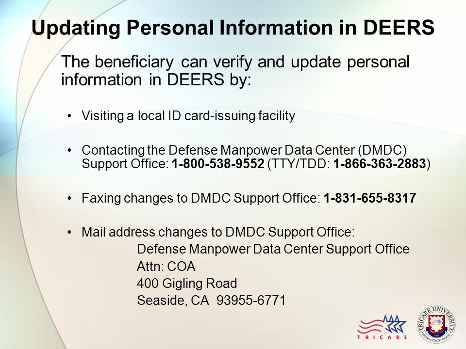 Updating personal information deers