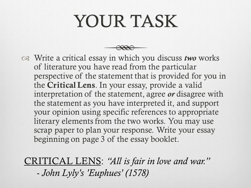 goals learn how to write a critical lens essay introductions  your taskyour task  write a critical essay in which you discuss two works of literature