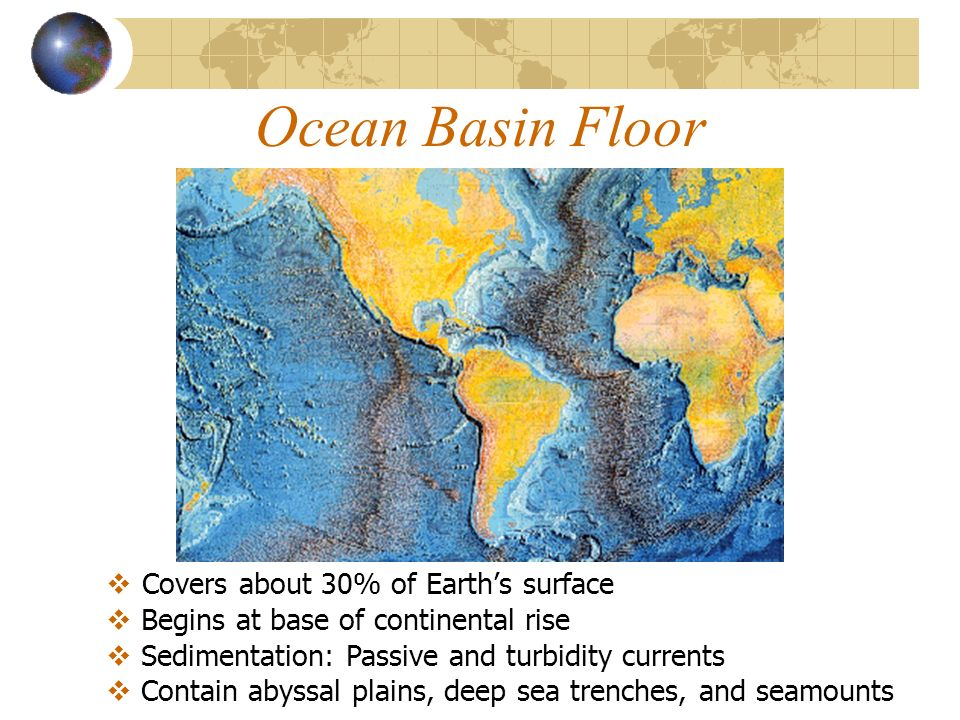 Continental margins and ocean basins continental margins three 20 ocean basin floor covers about 30 of earths surface contain abyssal plains deep sea trenches and seamounts begins at base of continental gumiabroncs Gallery