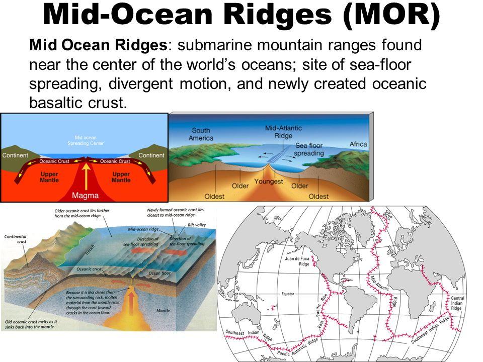 2 Mid Ocean Ridges (MOR) Mid Ocean Ridges: Submarine Mountain Ranges Found  Near The Center Of The Worldu0027s Oceans; Site Of Sea Floor Spreading, ...