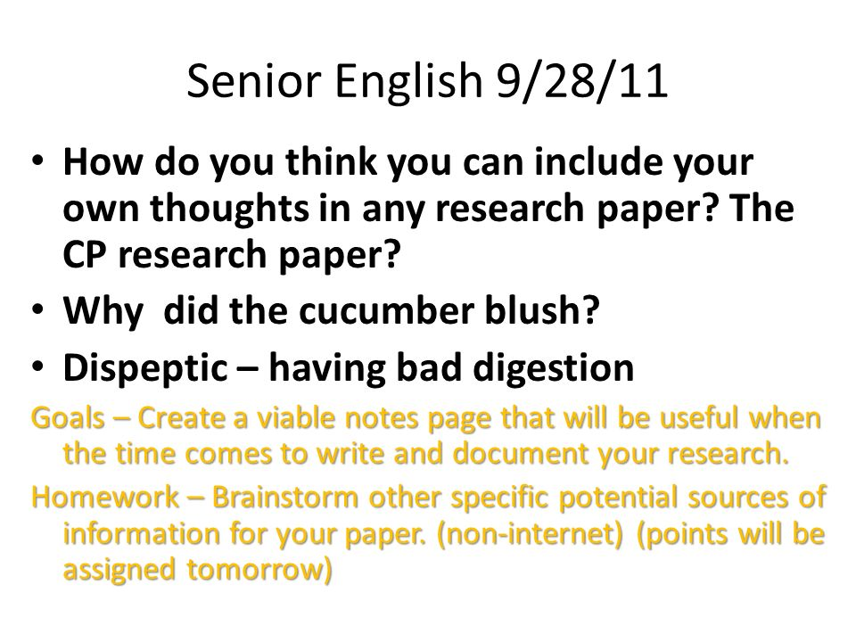 culminating project research paper